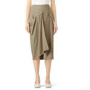 Tibi Moss Washed Draped Midi Skirt High Waist 10